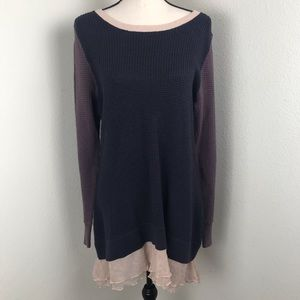 LOGO Long Sweater Top with bottom Lace Size L